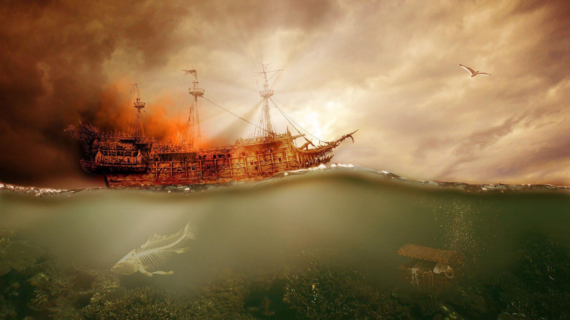 Piraten Geschichten auf Meer