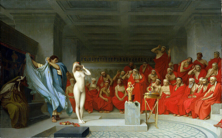 1920px Jean Léon Gérôme, Phryne Revealed Before The Areopagus (1861) 01 (2)